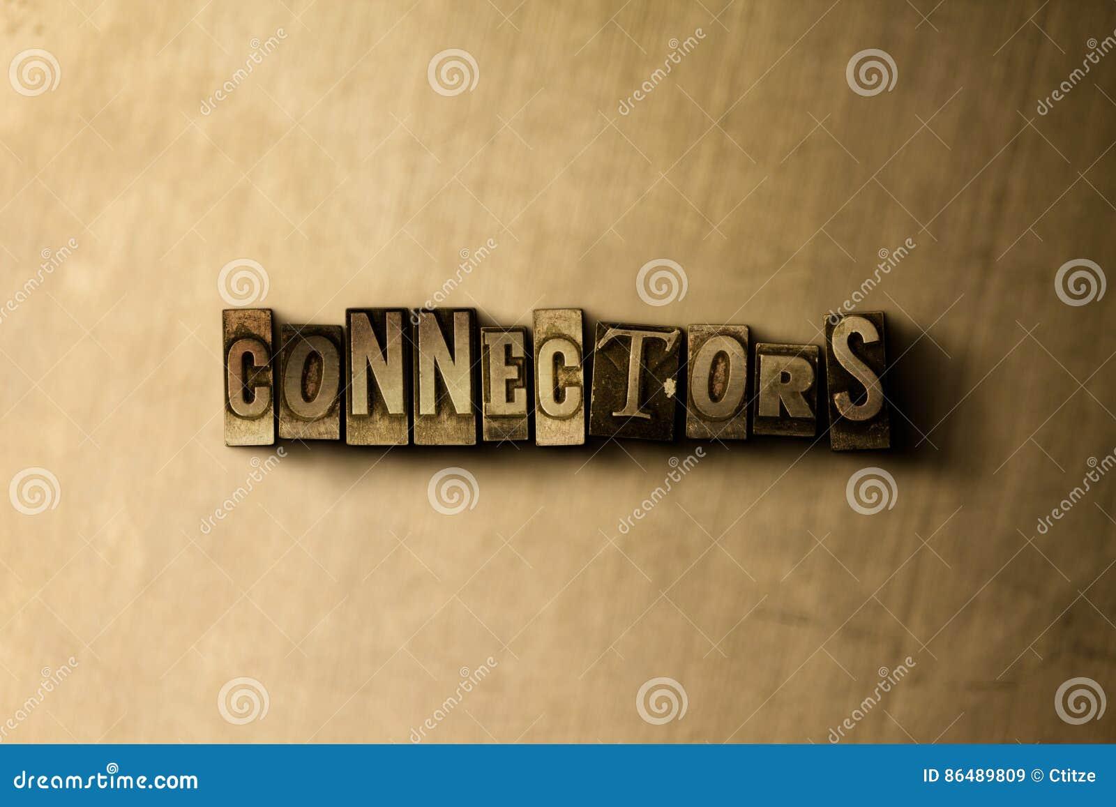 CONNECTEURS - plan rapproché de mot composé par vintage sale sur le contexte en métal