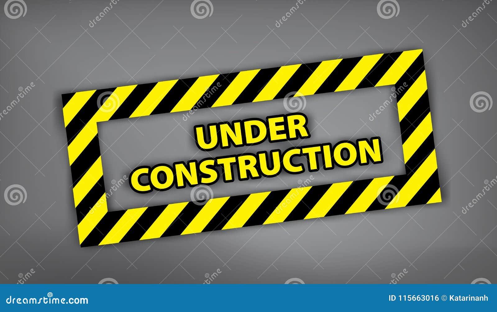 Connectez-vous en construction le fond gris Illustration de vecteur pour le site Web Timbre en construction avec la rayure noire