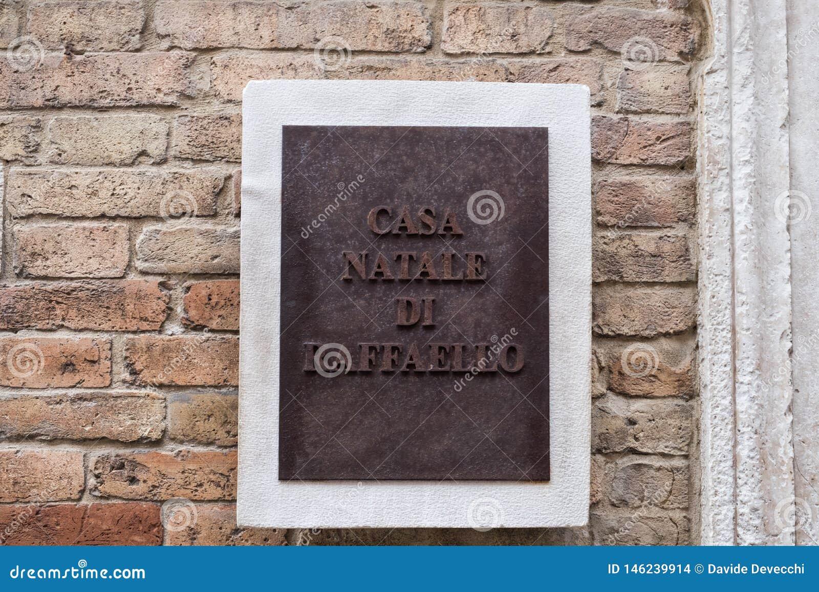 Connectez-vous le lieu de naissance de Raffaello Sanzio La traduction de l écriture est