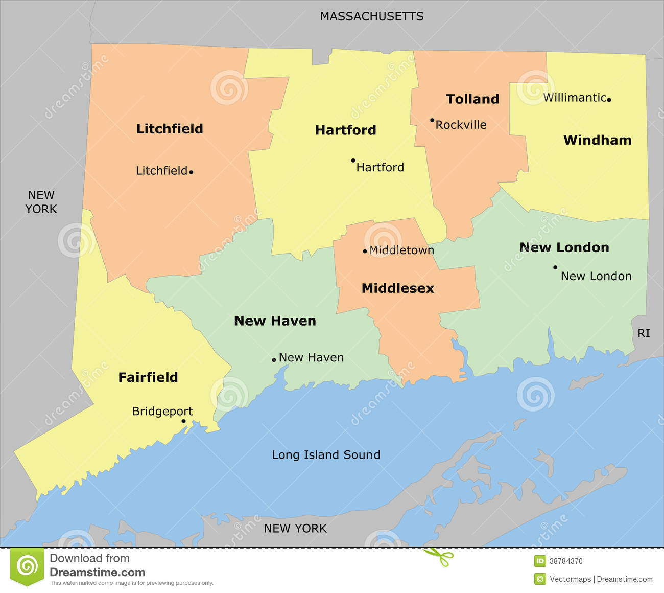 Connecticut County Map Stock Vector Image - Connecticut county map