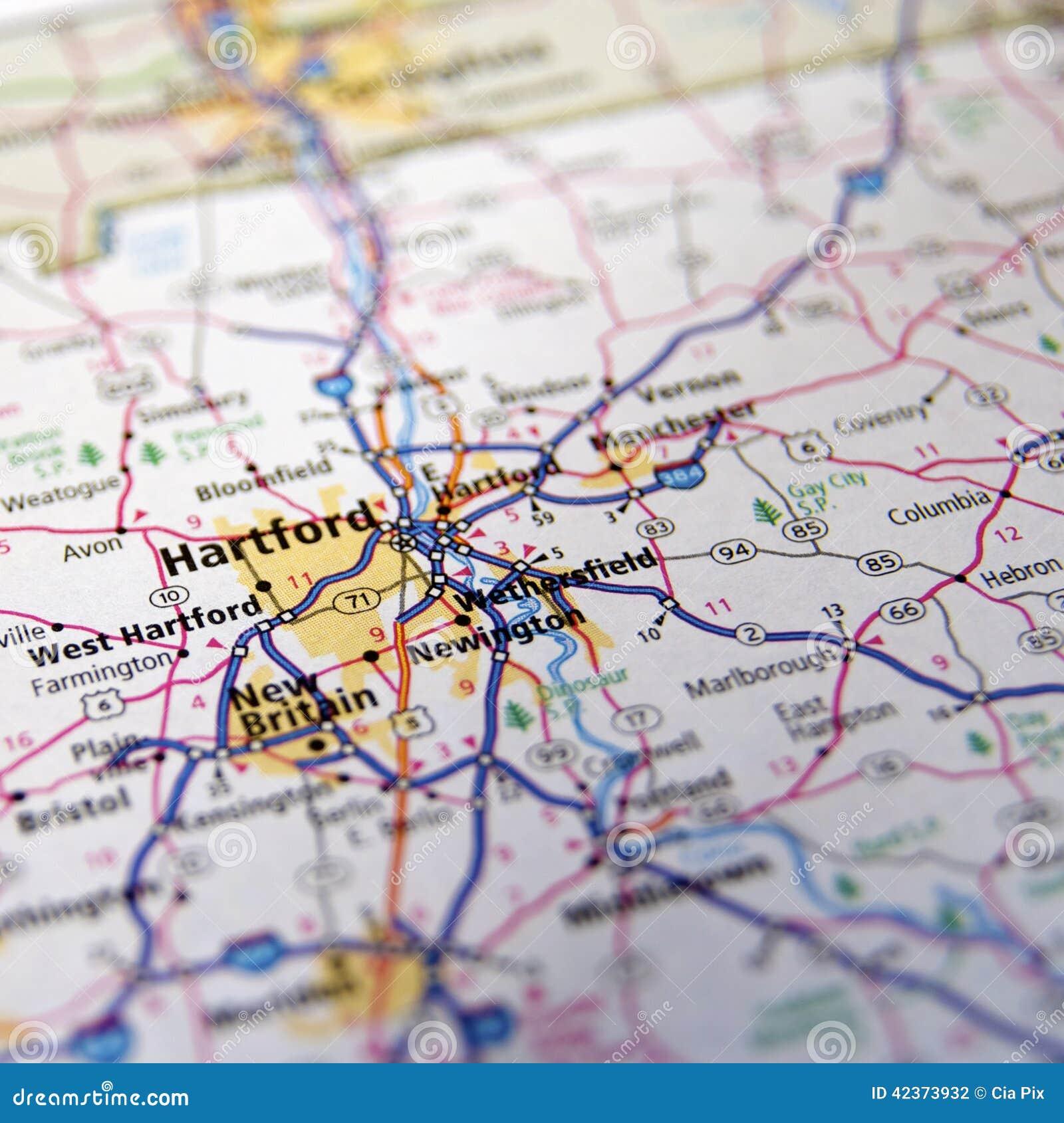 Connecticut-Landstraßen-Karte oder Atlas