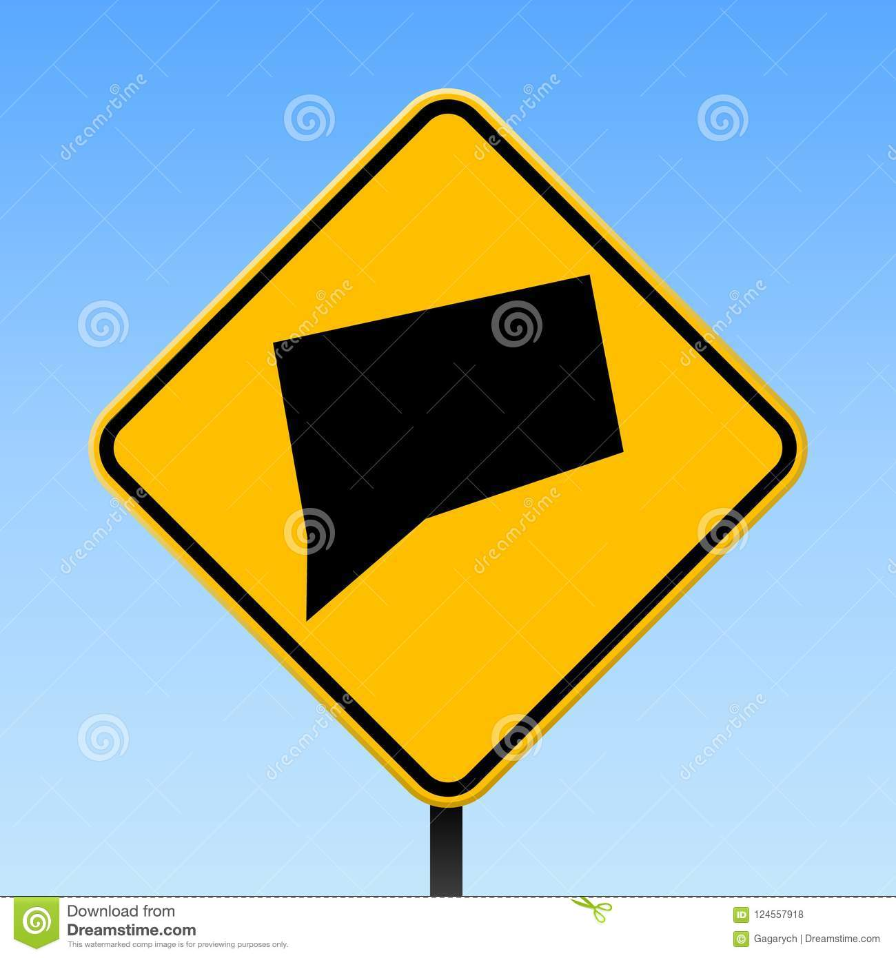 Connecticut Map On Road Sign Stock Vector Illustration Of