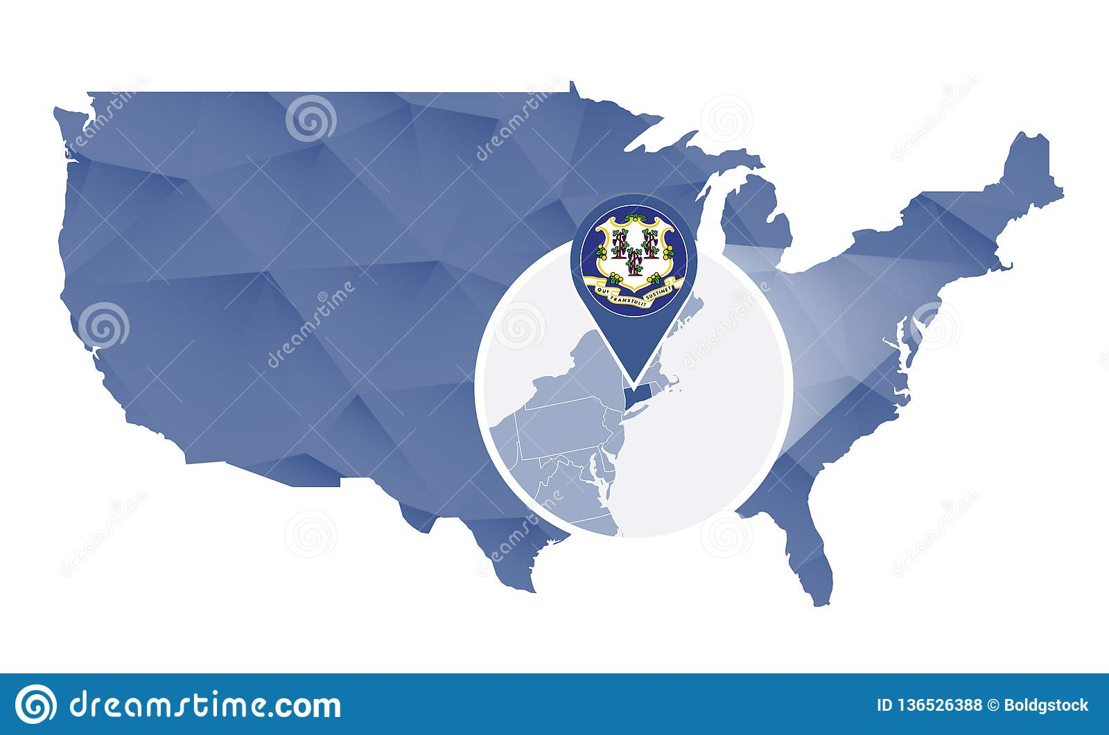 Connecticut State Magnified On United States Map Stock Vector - Connecticut-on-the-us-map