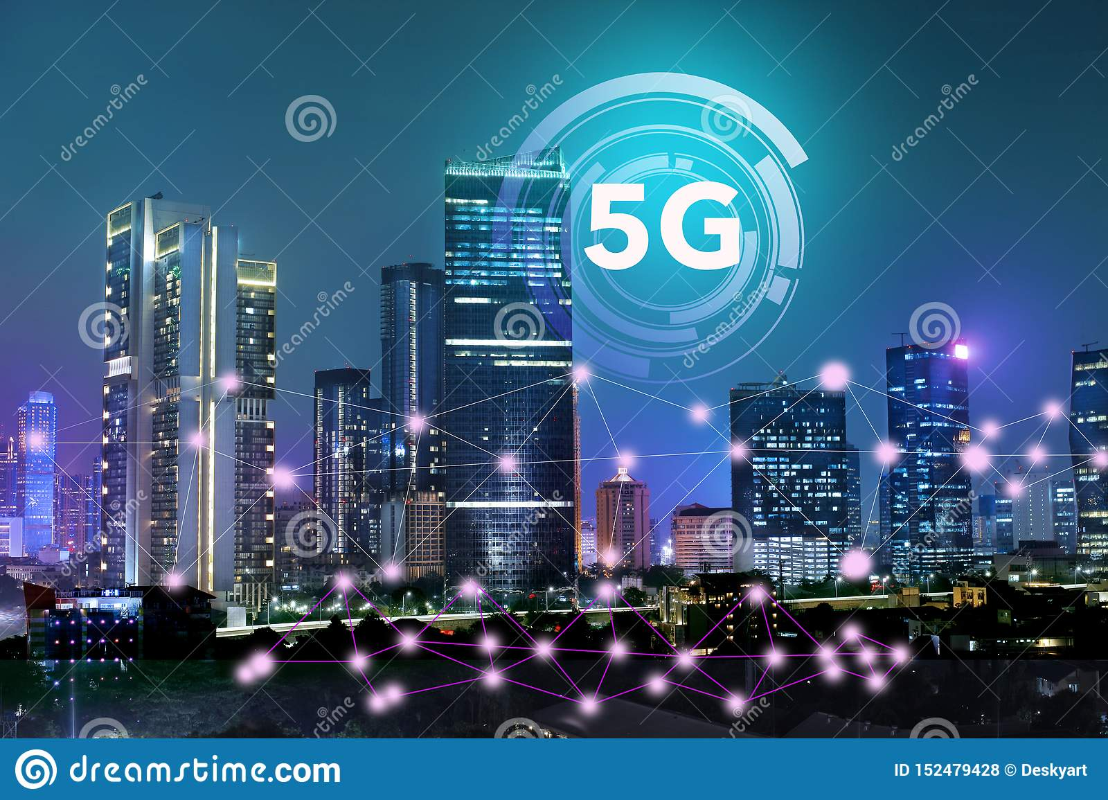 The internet network on the 5G technology system on business buildings and skyscrapers as the business center of the city of