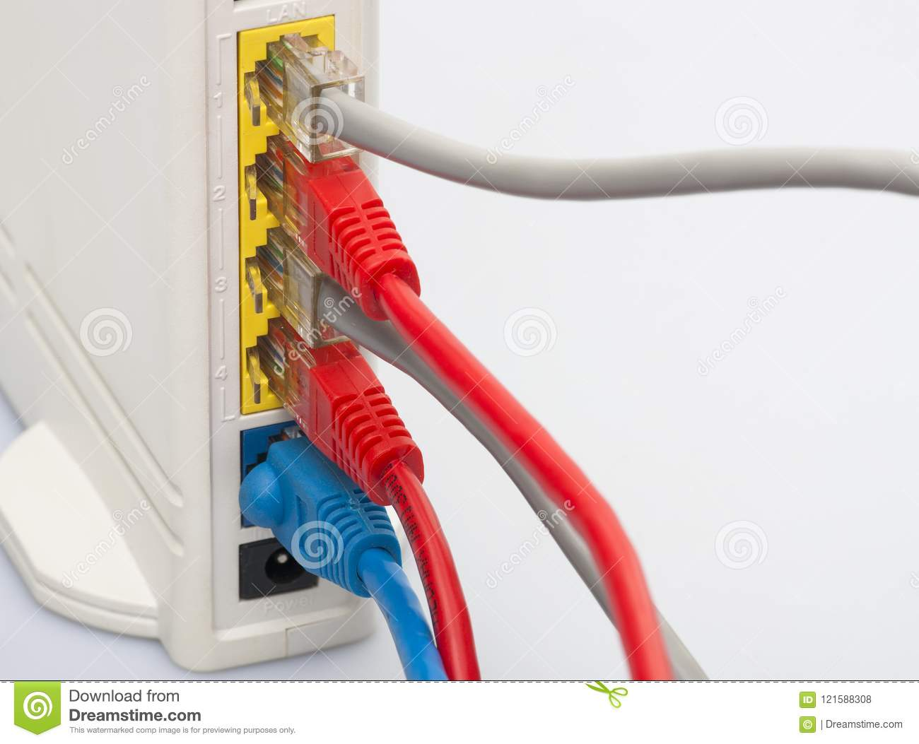 Network Cables Connected To The Router  Network