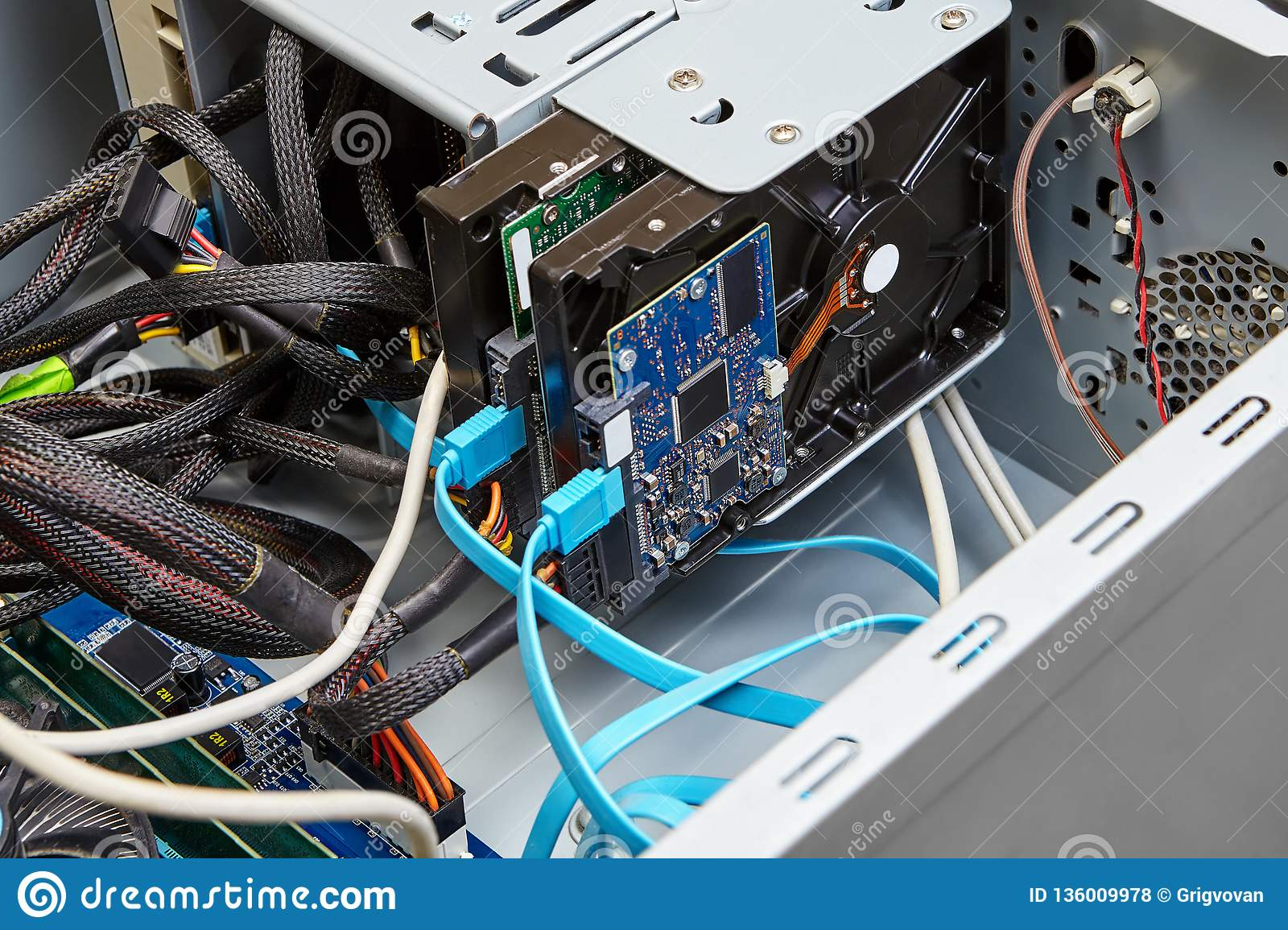 Connection Of Hard Drive With SATA Cables Stock Photo