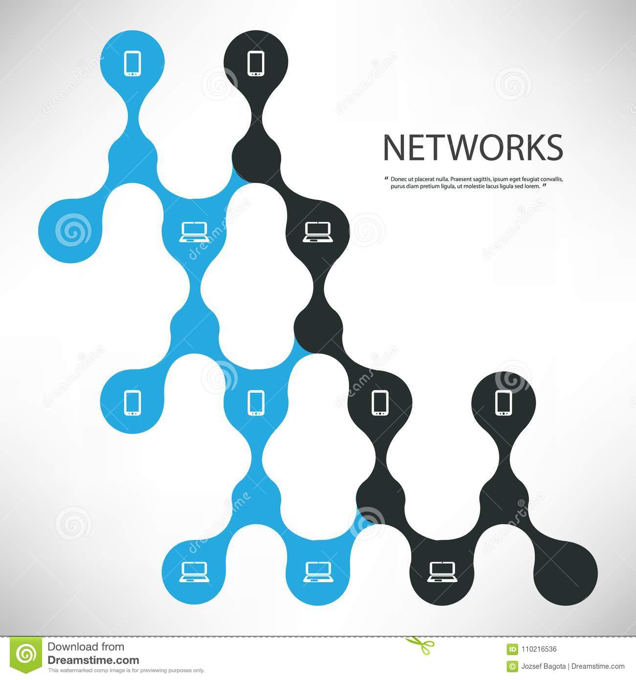 connections black and blue digital network design concept with