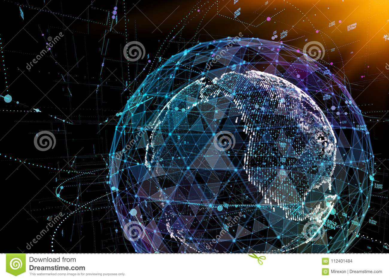 Connections global communication in the world map view on dark space download connections global communication in the world map view on dark space background 3d illustration gumiabroncs Choice Image