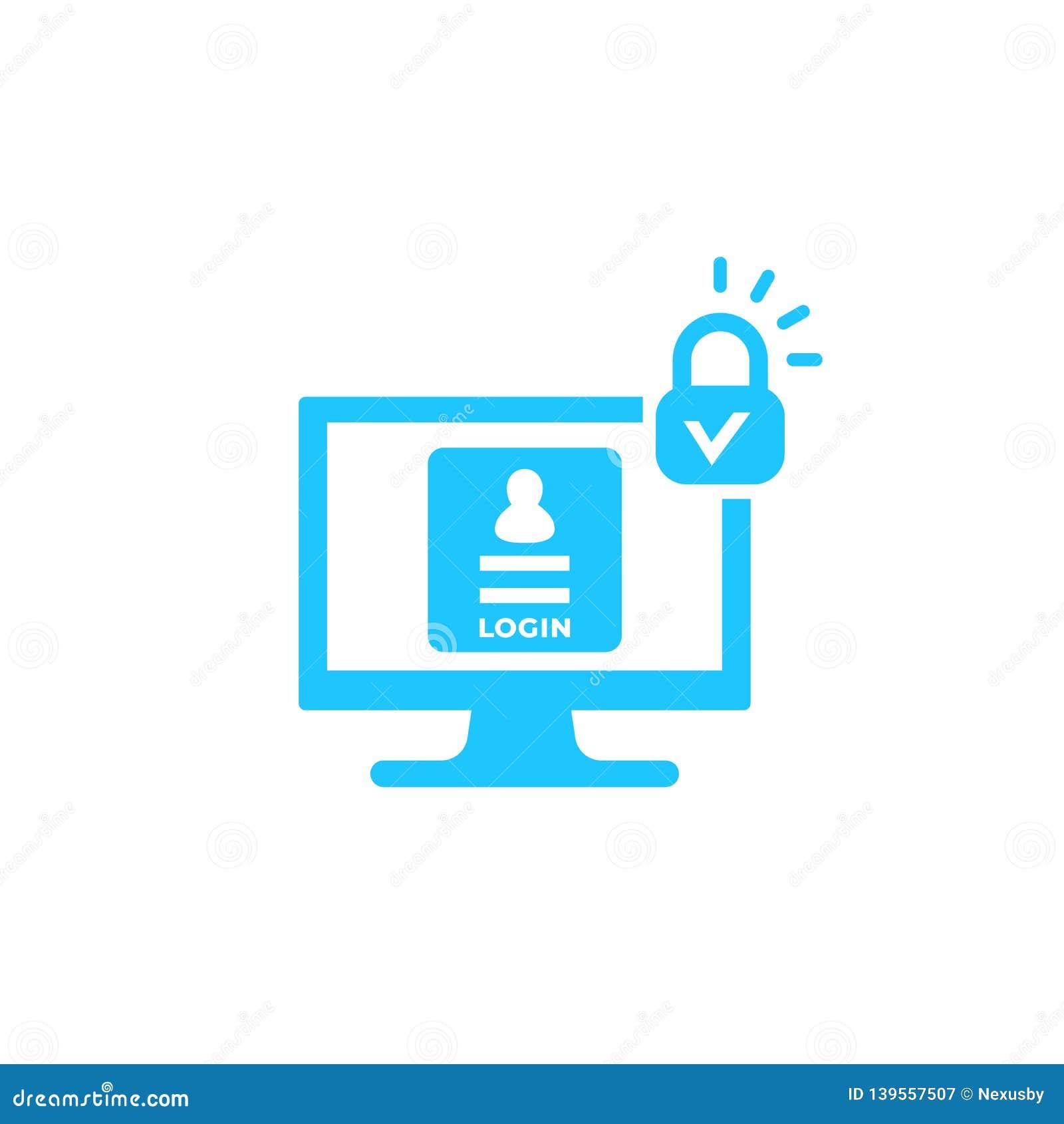 Connessione, icona sicura di vettore di autenticazione