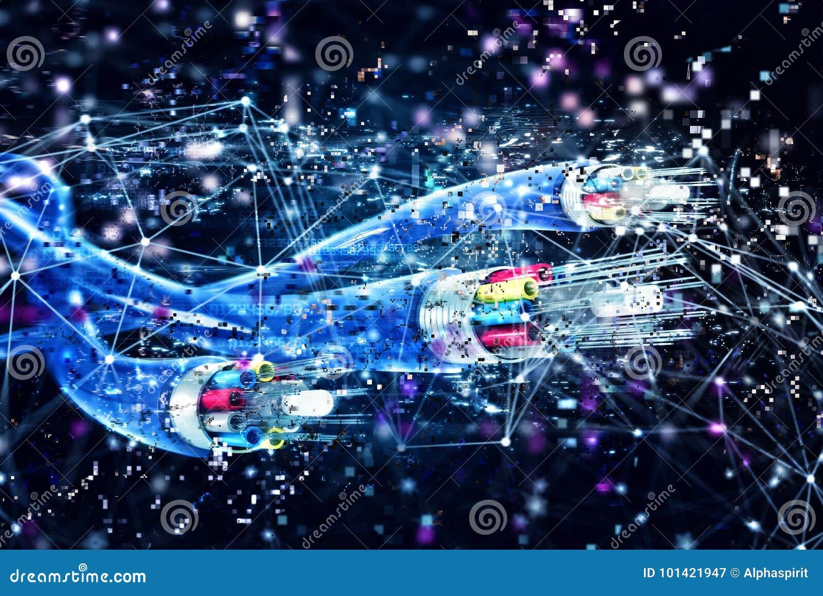 980745d44c692 Connexion Avec La Fibre Optique Concept D Internet Rapide 3d Rendent ...