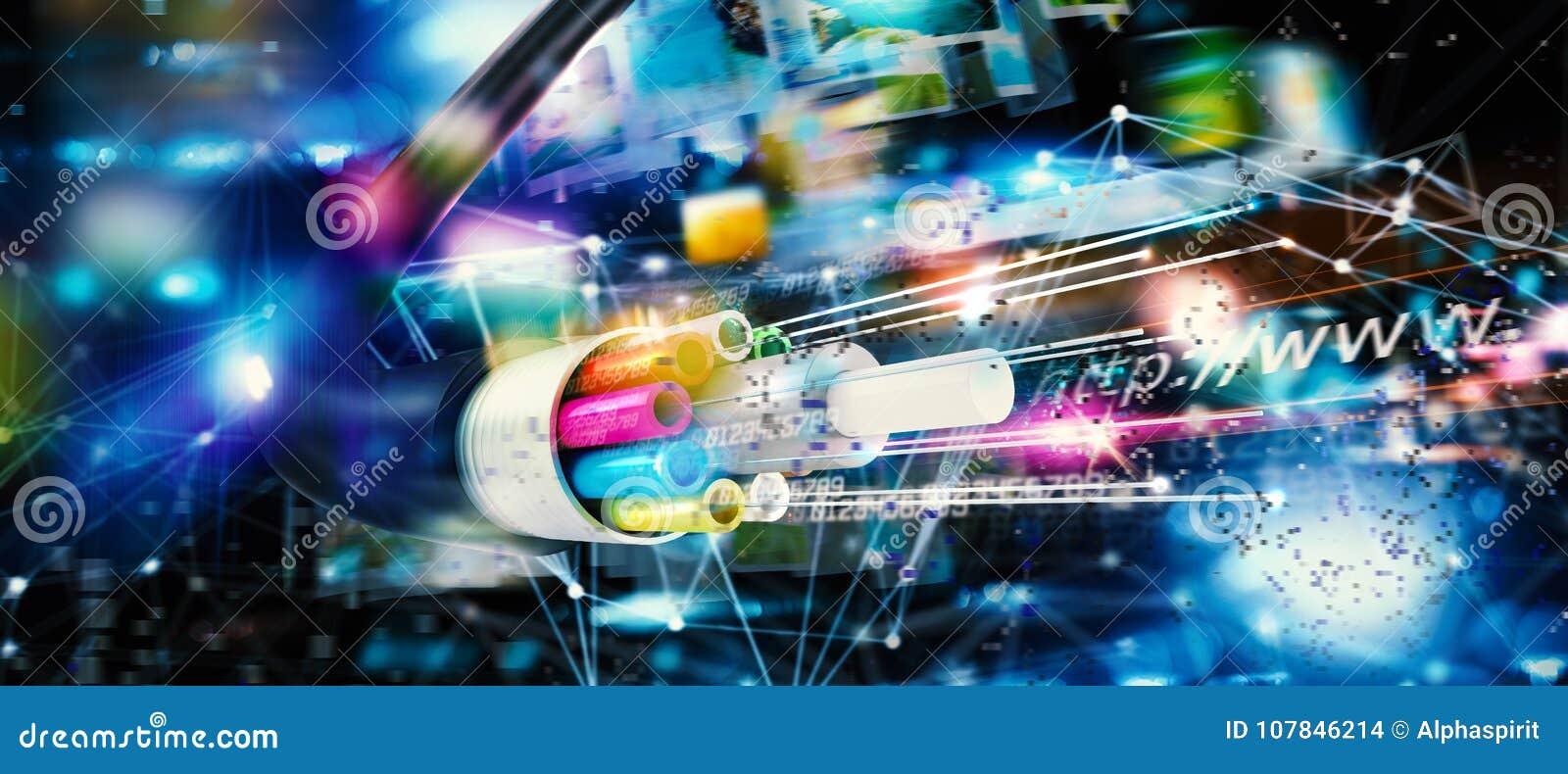 002031b9f36c7 Connexion Internet Rapide Avec La Fibre Optique Illustration Stock ...