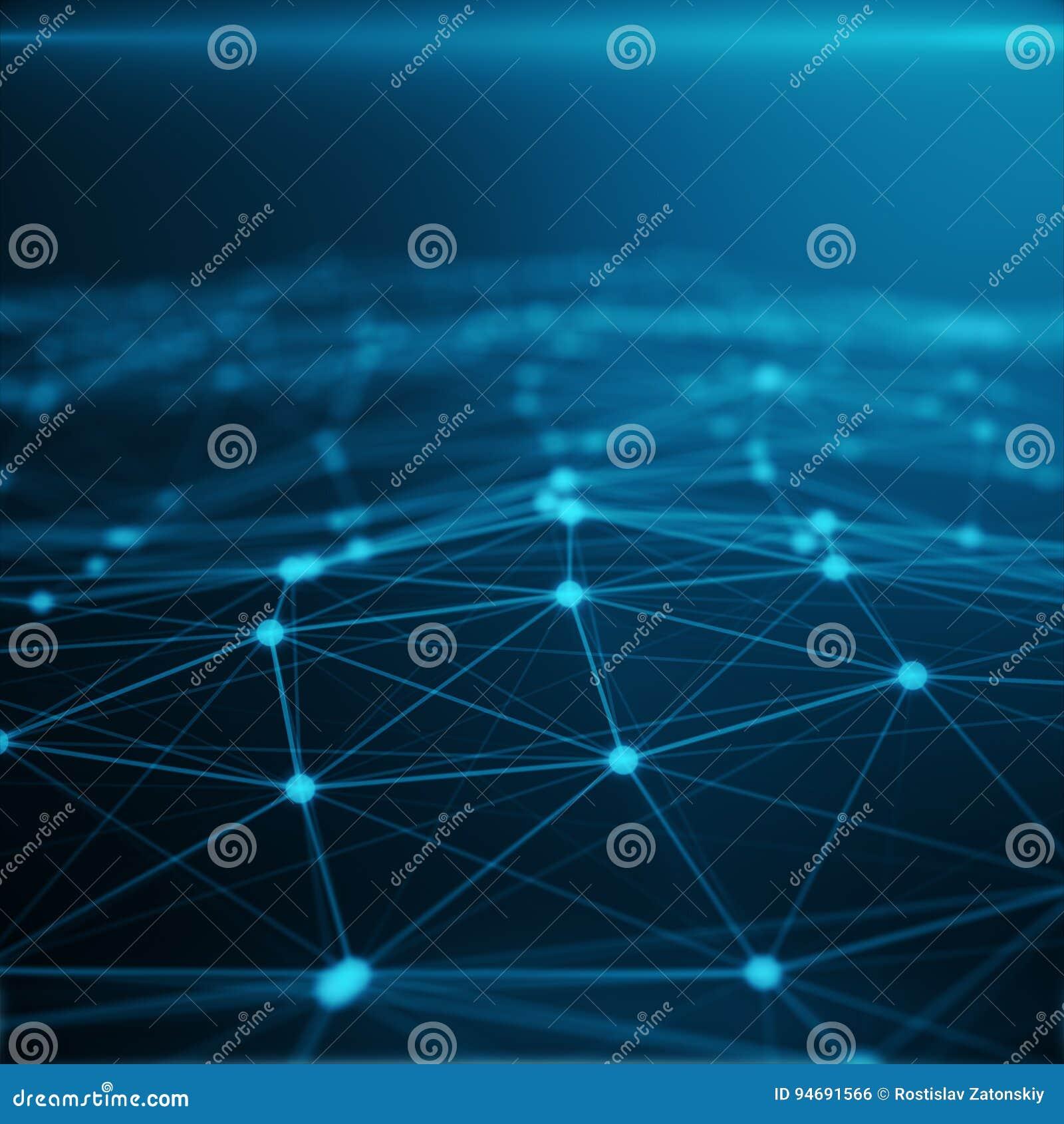Connexion technologique dans l ordinateur de nuage, réseau bleu de point, fond abstrait, concept de la représentation de réseau