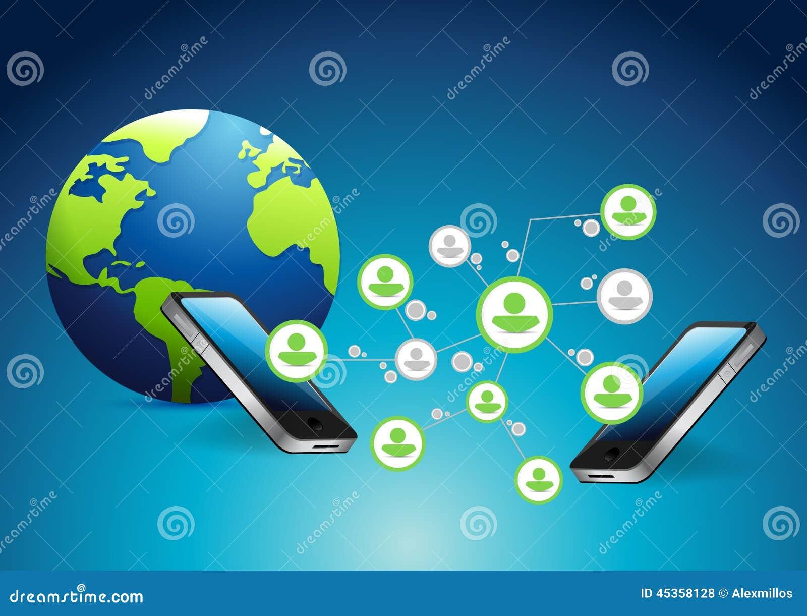 Connexions réseau de téléphone et de personnes