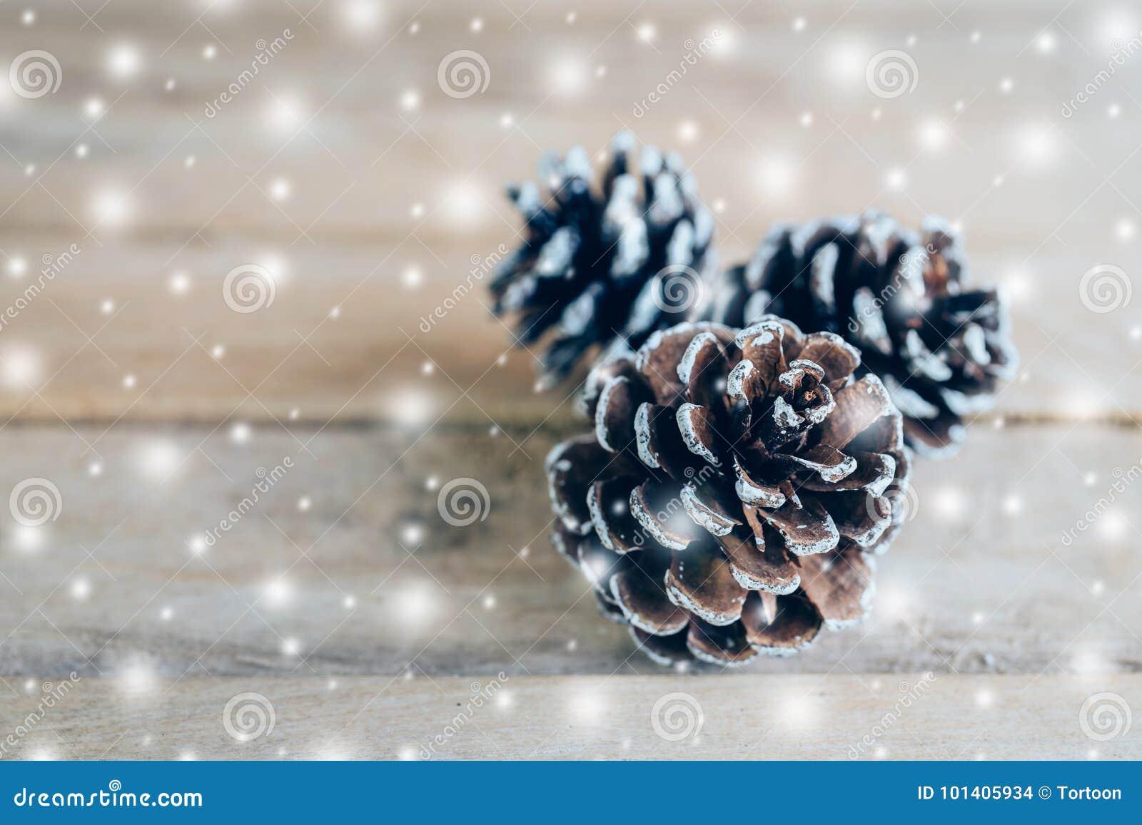 Cono del pino y nieve blanca en el fondo de madera de la tabla con el espacio