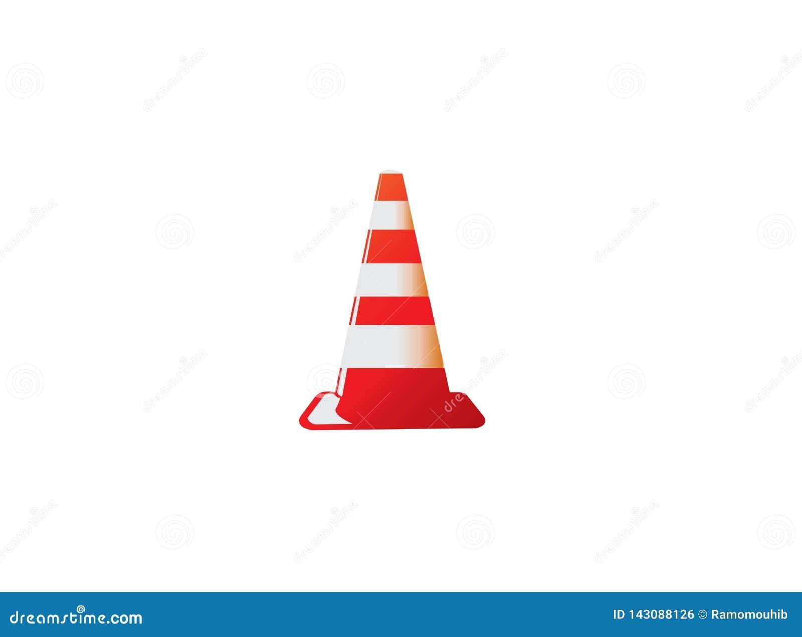 Cono del tráfico en la señal inferior de la construcción que advierte en una zona segura para el diseño del logotipo
