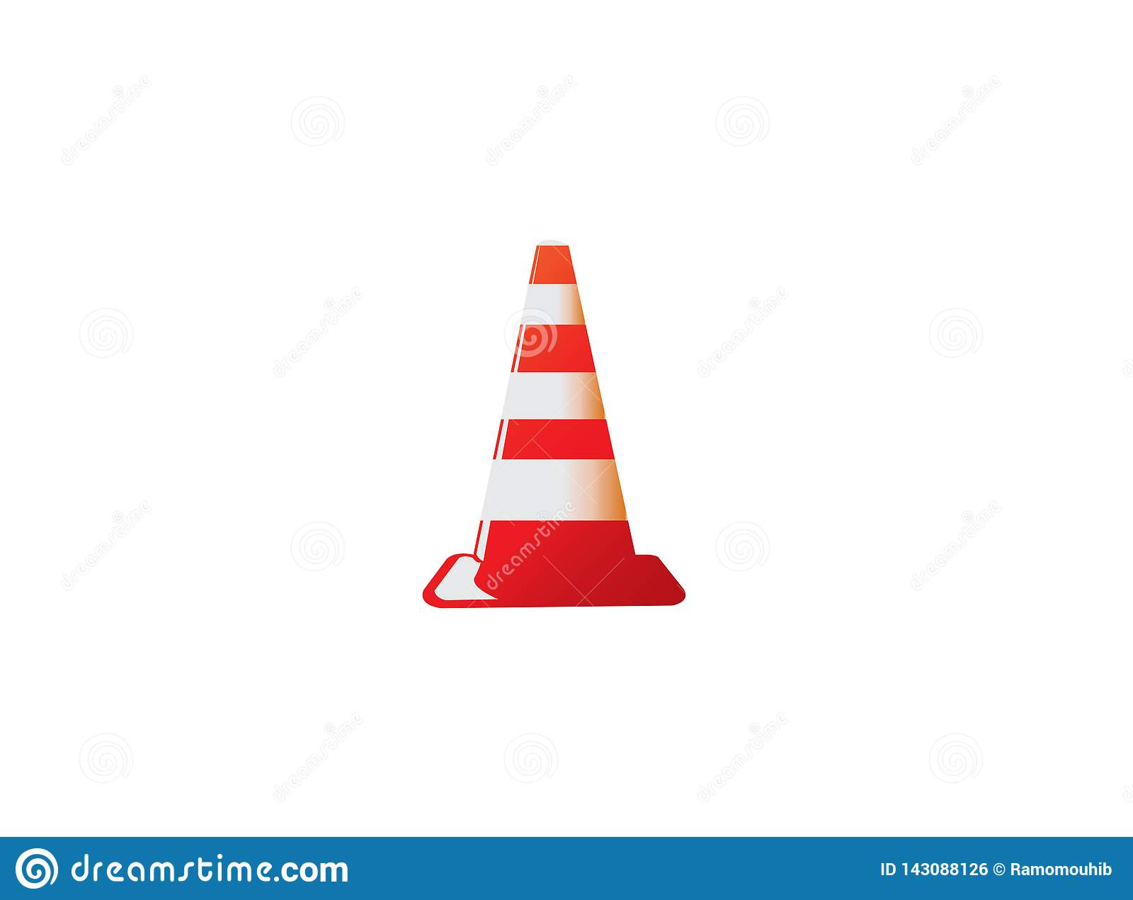Cono di traffico nell avvertimento in costruzione del segnale in una zona sicura per progettazione di logo