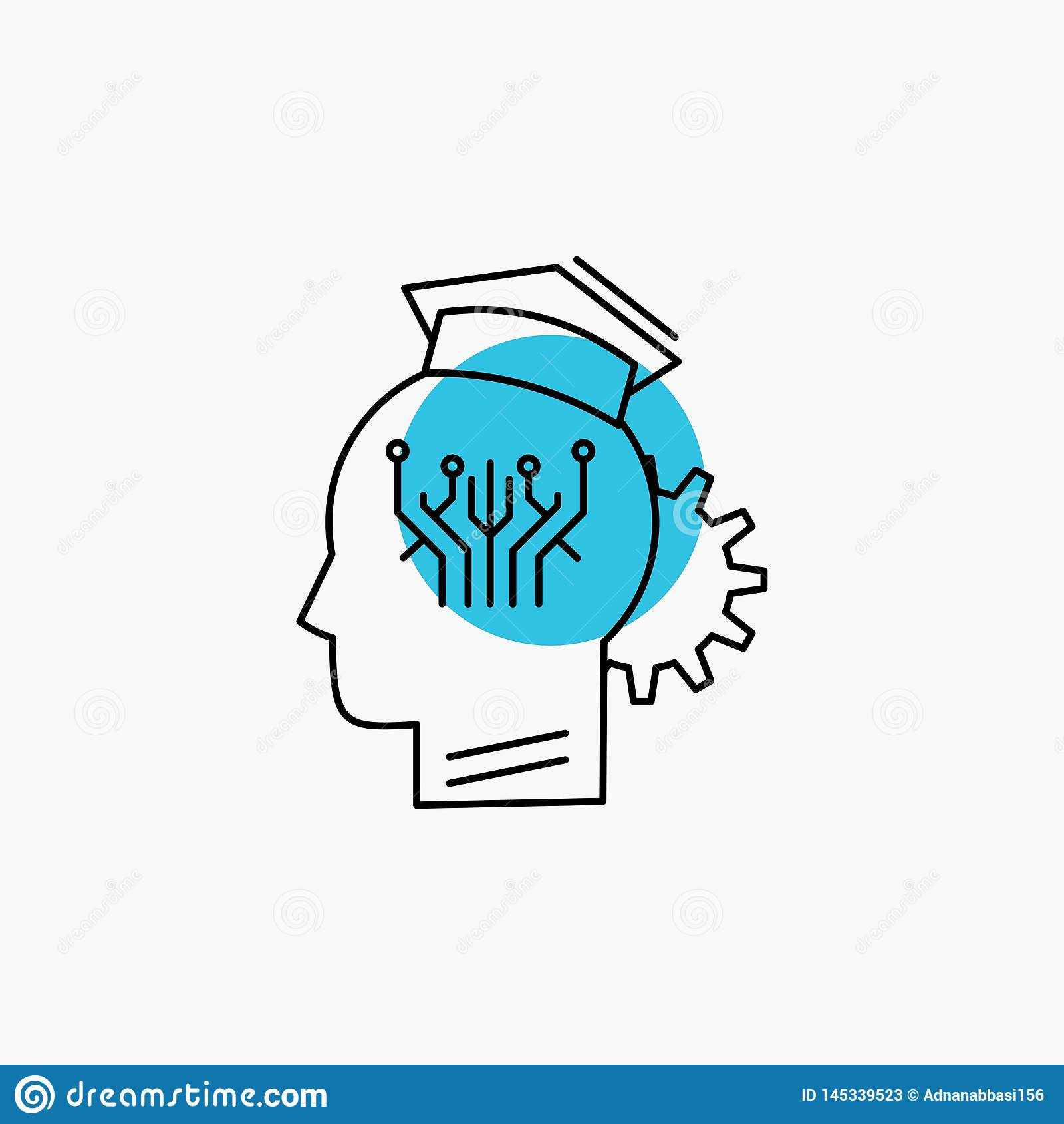 Conocimiento, gesti?n, distribuci?n, elegante, l?nea icono de la tecnolog?a