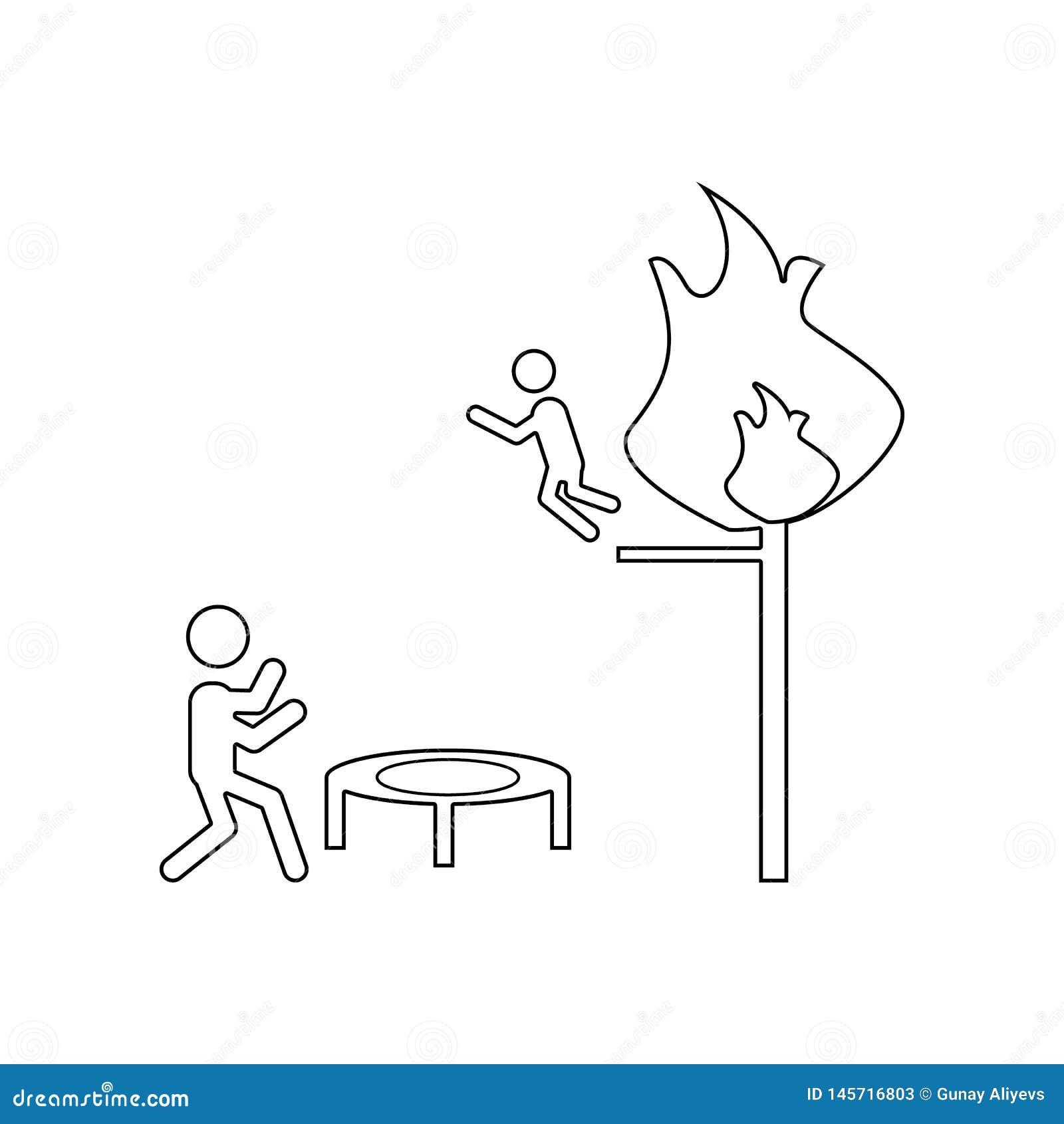 ?conomies de sapeur-pompier d une ic?ne du feu E Contour, ligne mince ic?ne pour le site Web