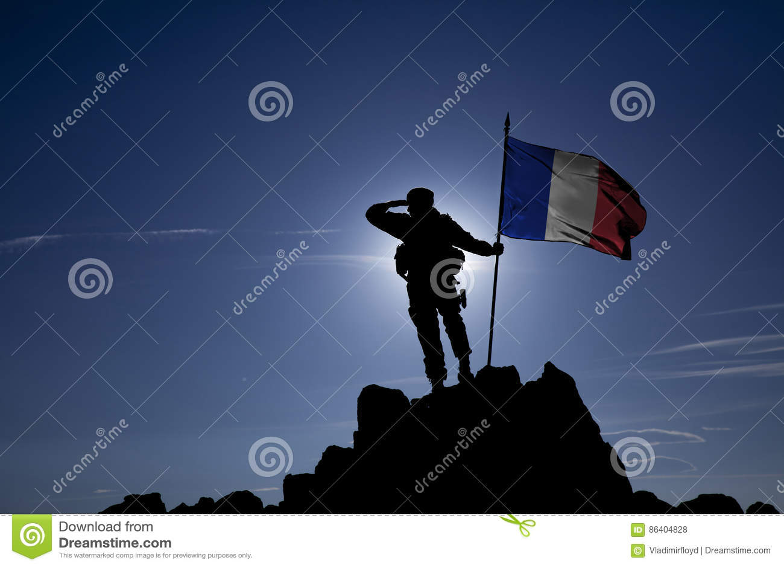 Conquérant avec un drapeau