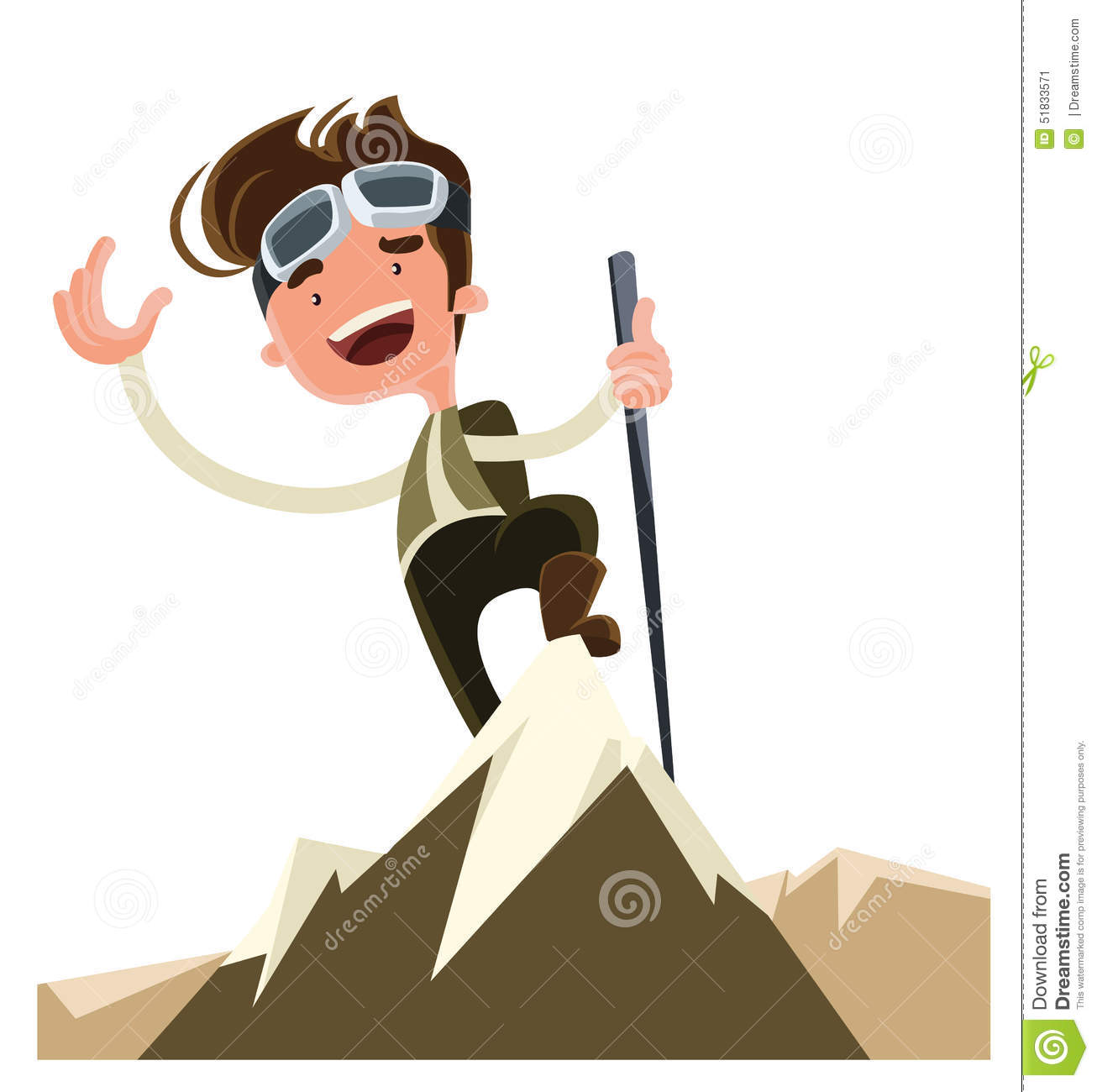 Conquer the mountain peak top illustration cartoon character. Enjoy ...