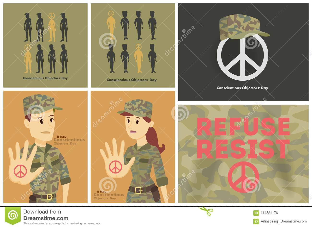 Conscientious Objectors Day Stock Vector Illustration Of Brain