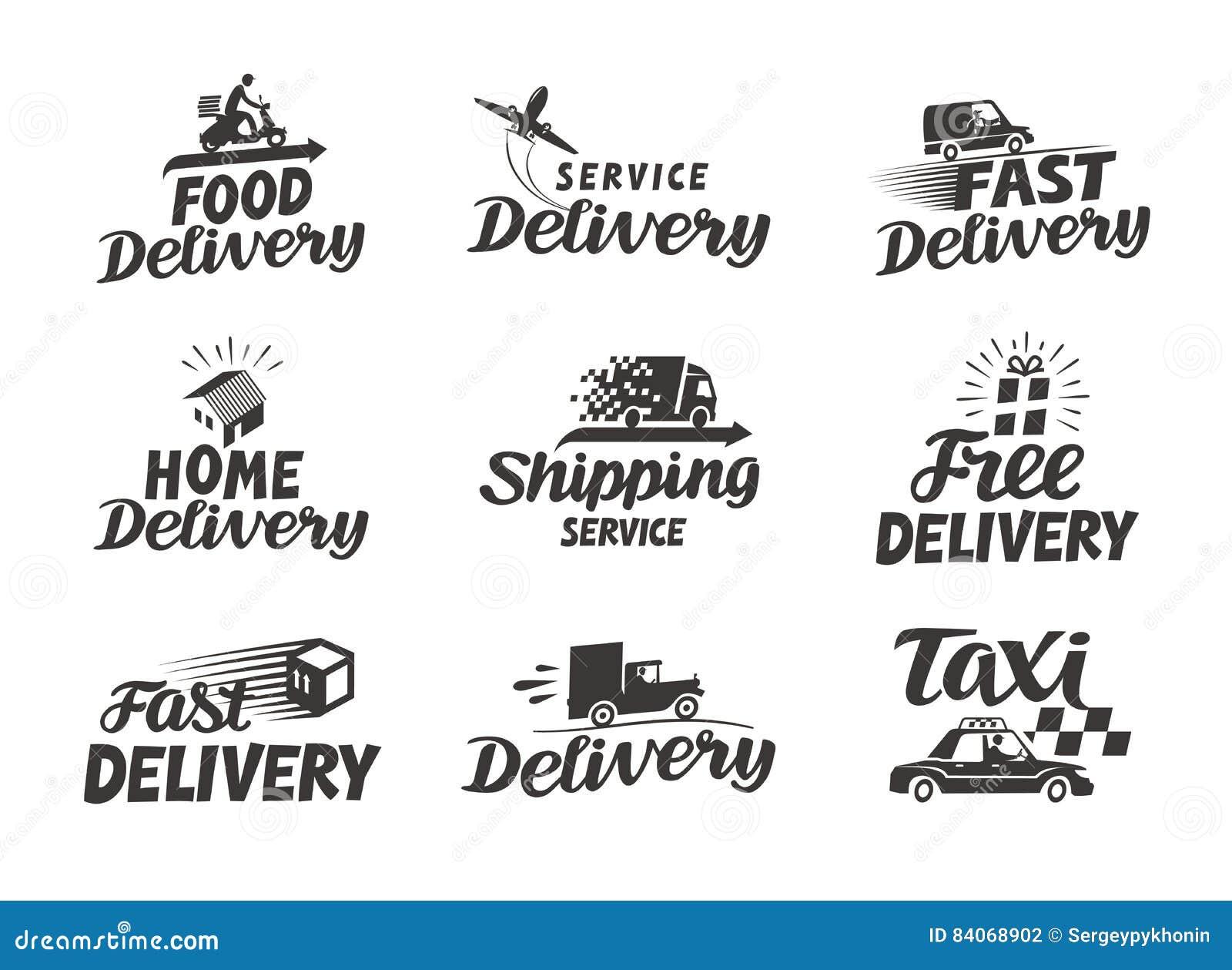 Consegna, icone stabilite di spedizione Illustrazione di vettore