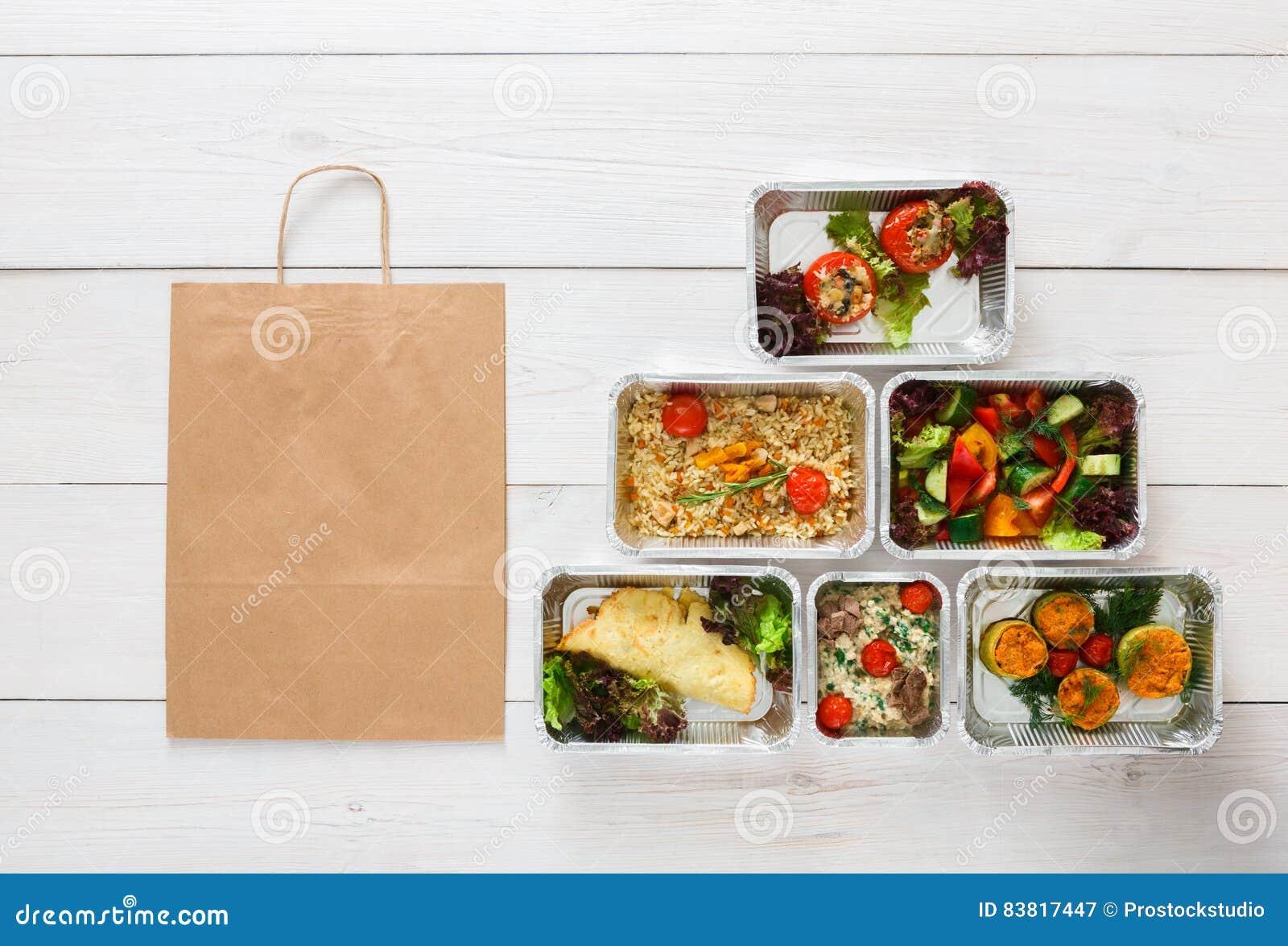 Consegna sana dell alimento, pasti quotidiani vista superiore, spazio della copia