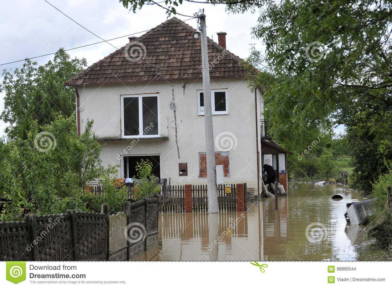 The consequences of flooding, flooded house.