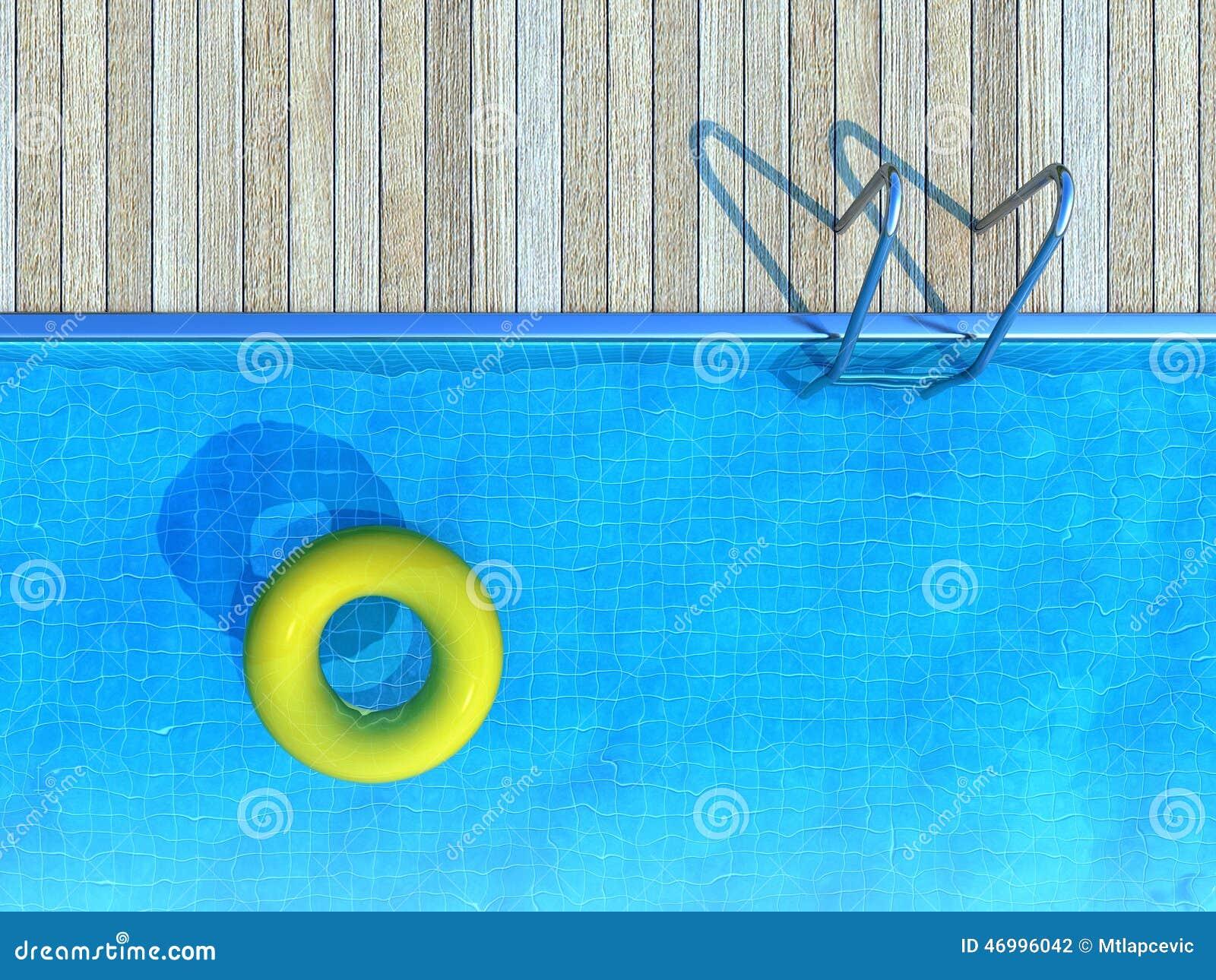 Conservateur de vie jaune flottant dans la piscine, fond d été