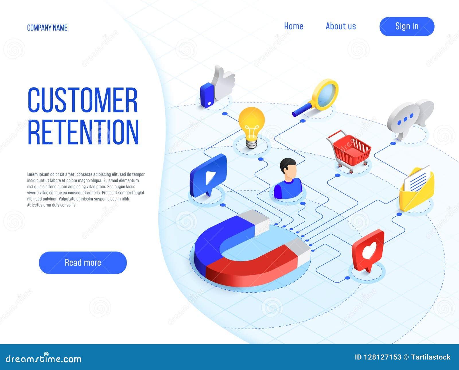 Conservation de client La vente d affaires, stigmatisant attirent des clients et augmentent la fidélité d acheteur Vecteur attray