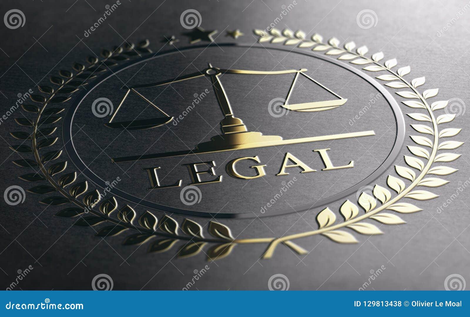 Consiglio legale, bilancia della giustizia, simbolo dorato di legge sopra PA nero