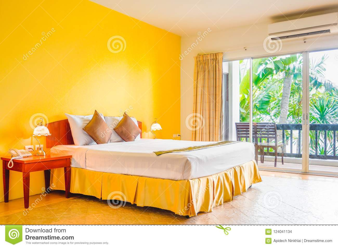 Download Interior Decoration Of Romantic Plain Yellow Bedroom With Balcony  Stock Photo   Image Of Comfort