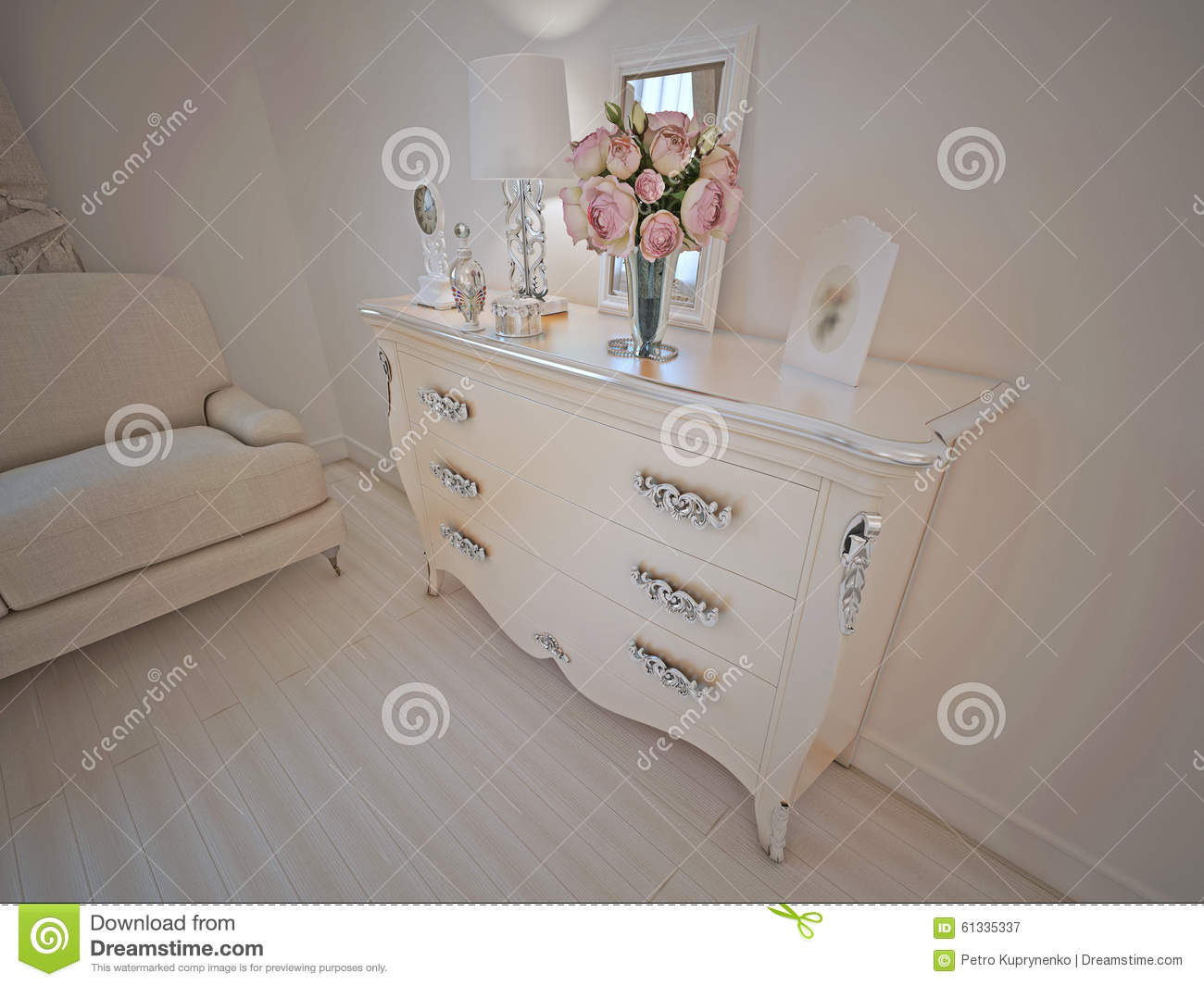 Console in art deco lounge stock image 61335337 - Deco lounge grijs en beige ...