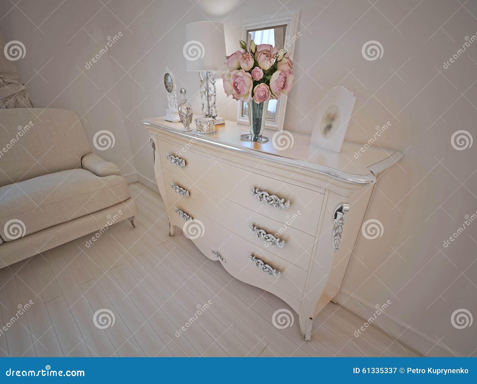 Console in art deco lounge stock image 61335337 - Deco lounge grijs en beige ...