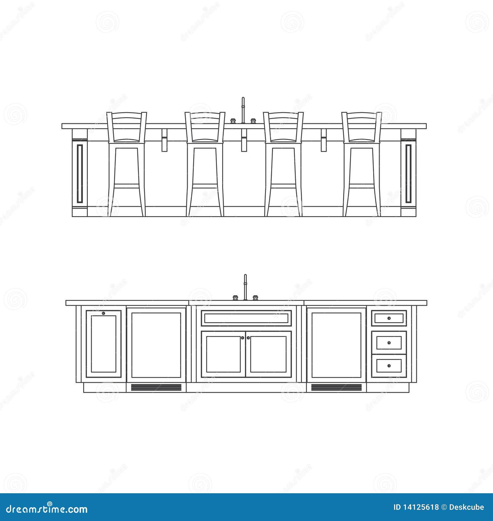 lápis desenhos da elevação do console de cozinha. #84A526 1300 1390