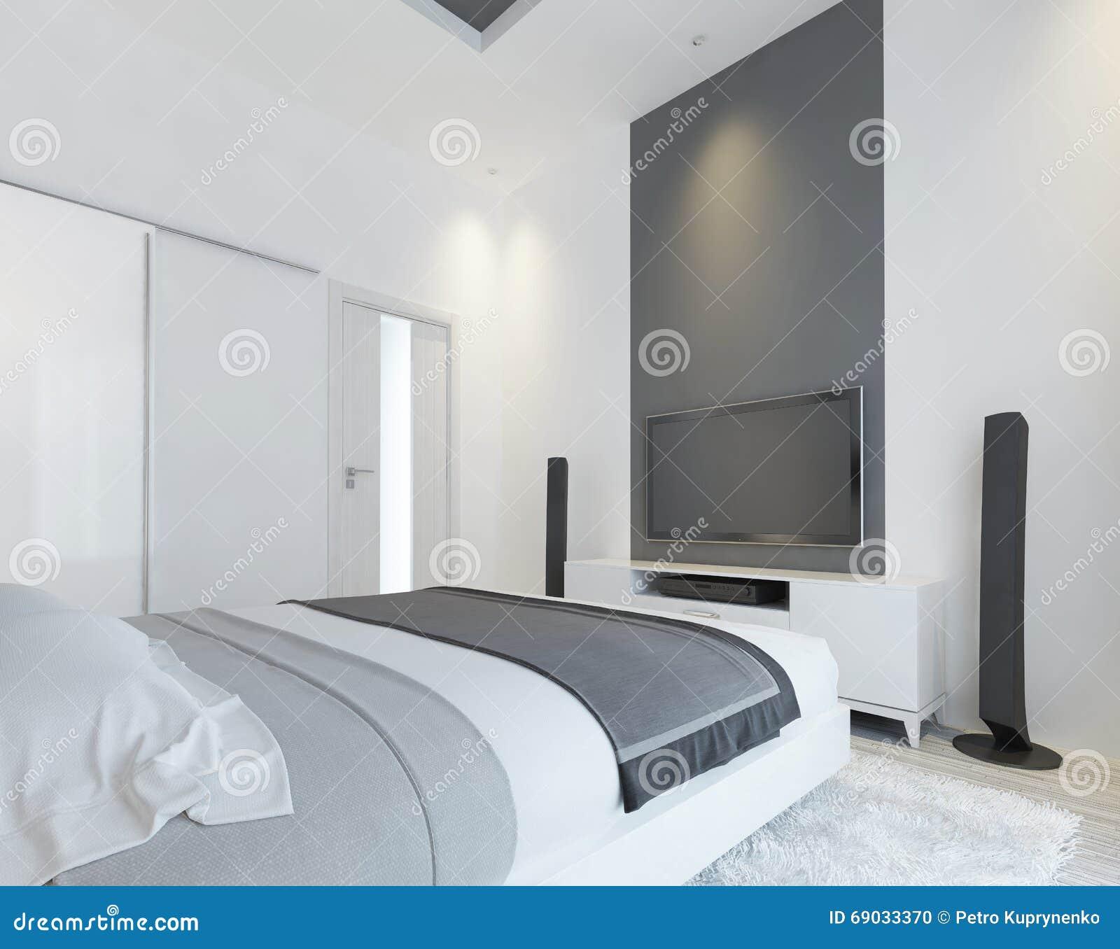 Camera Da Letto Con La TV E Una Console Di Media Illustrazione di ...