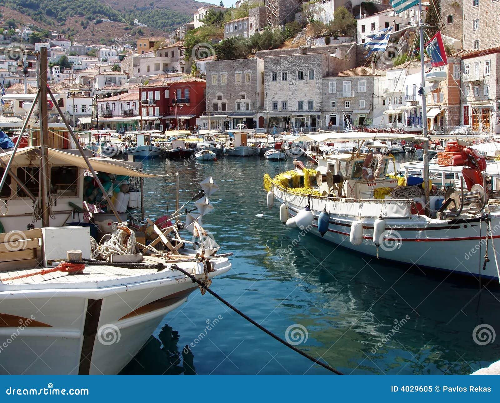 Console do Hydra, Greece - vista da porta e da cidade