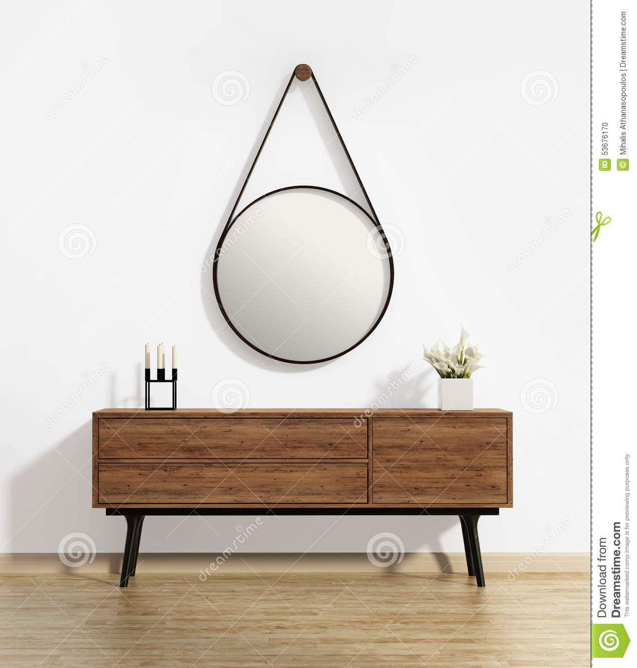 Console Table With Captains Round Mirror Stock Photo Image 53676170