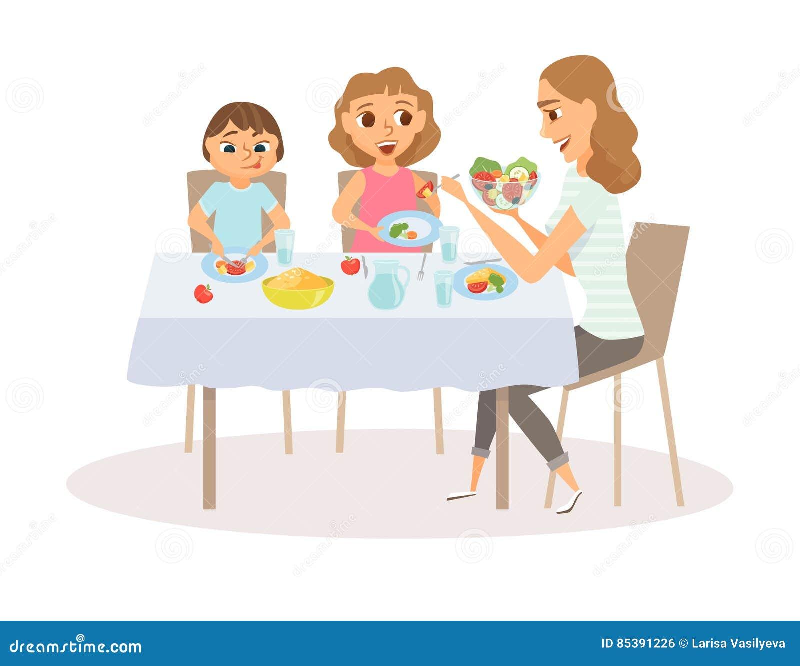 Eating Table Cartoon: Consommation De Maman Et D'enfant Illustration De Vecteur