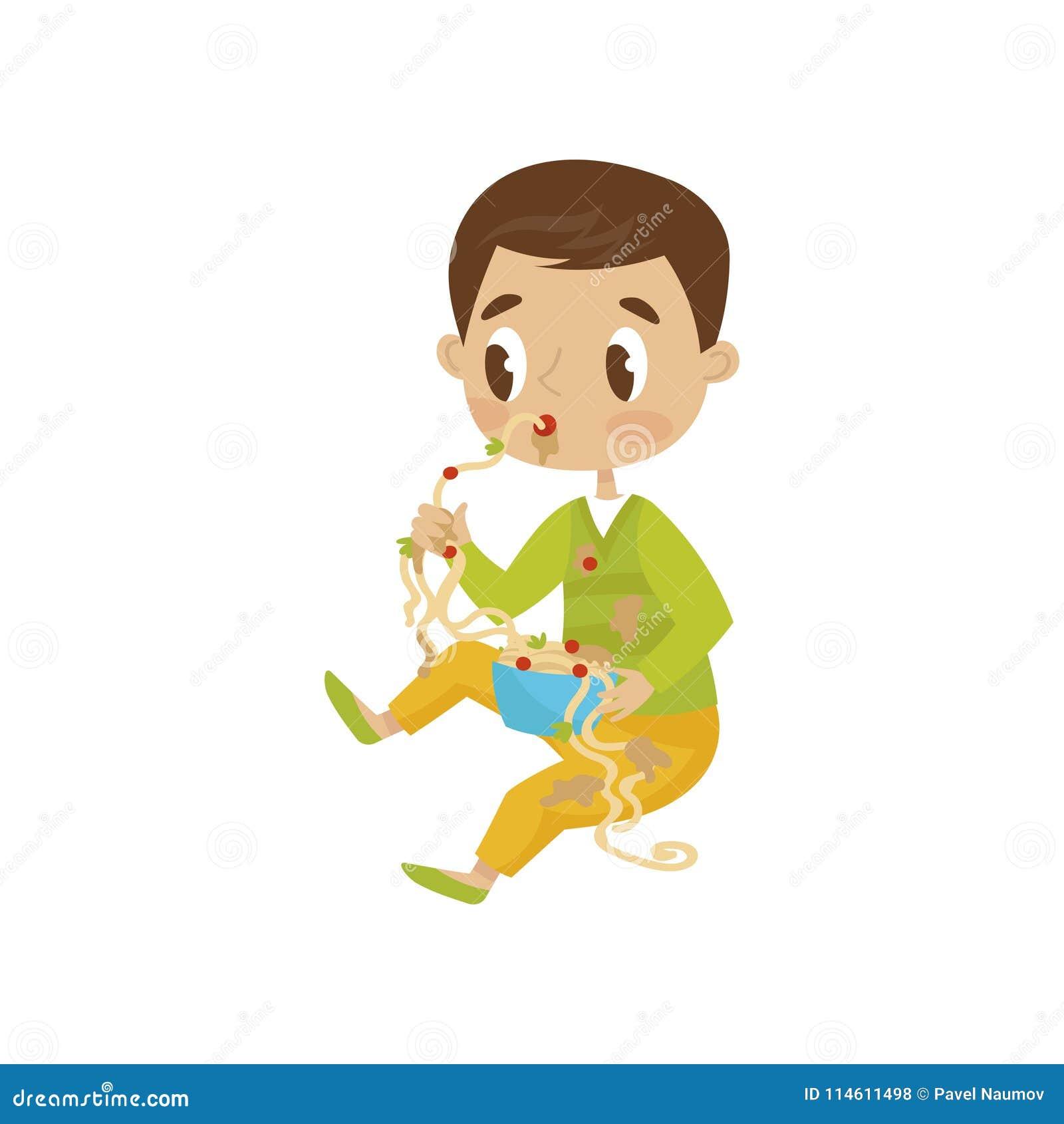 Consommation mignonne de garçon malpropre, enfant gai de truand, mauvaise illustration de vecteur de comportement d enfant sur un