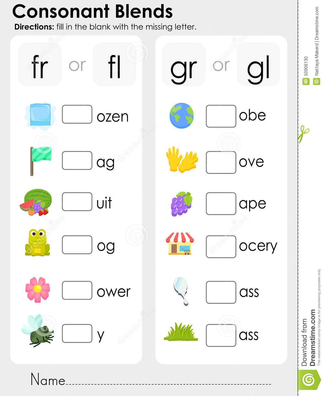 math worksheet : consonant blends  missing letter  worksheet for education stock  : Consonant Blends Worksheets For Kindergarten