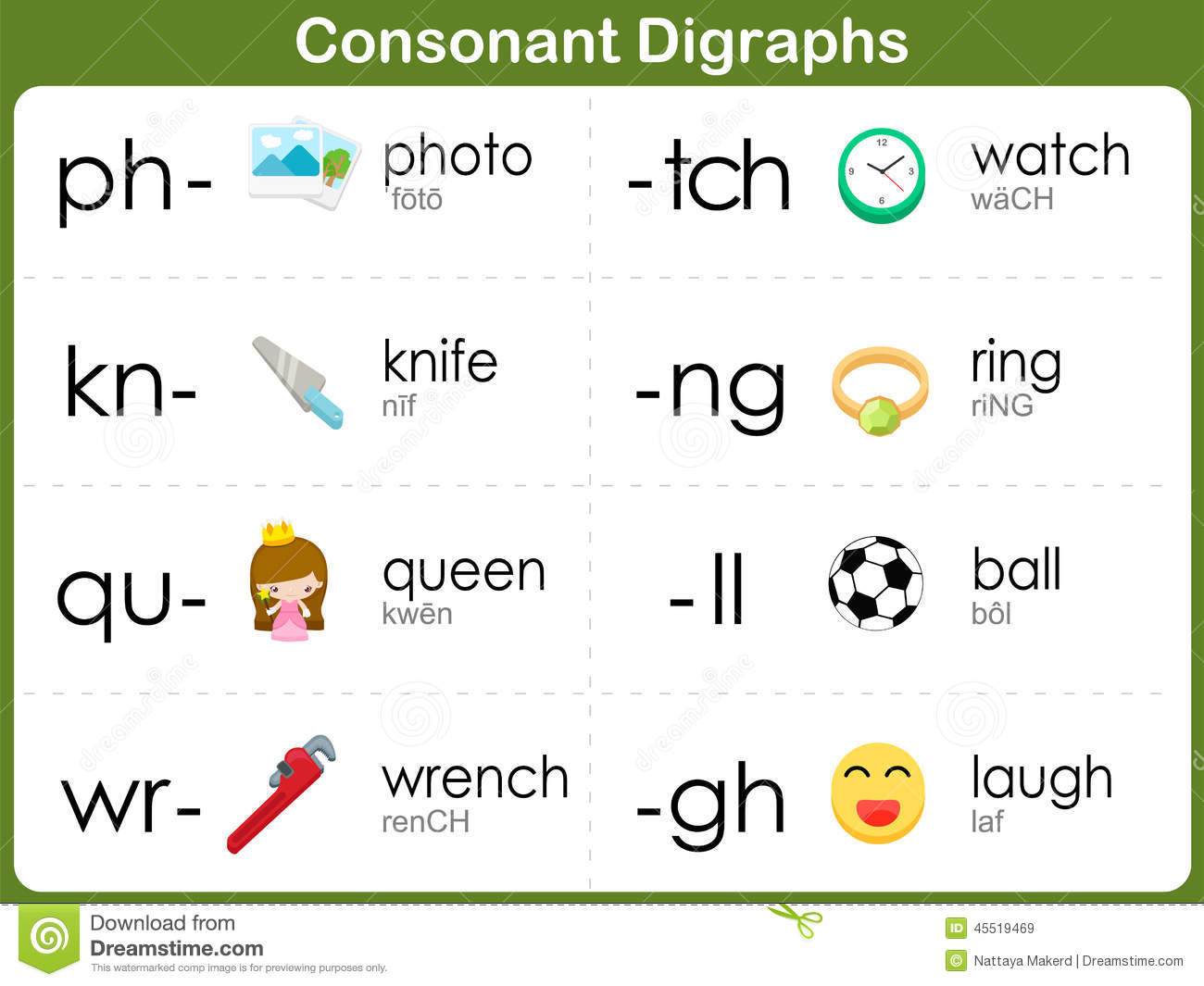 Consonant Blends Worksheet For Kids Stock Vector - Image: 45519469