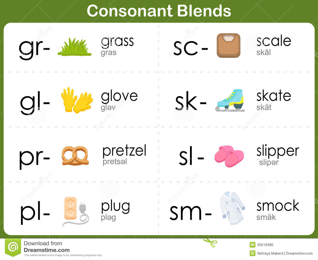 Consonant Blends Worksheet For Kids Vector Image 45519480 – Consonant Blend Worksheets