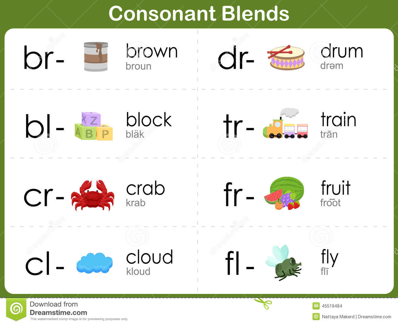 Consonant Blends Worksheet For Kids Stock Vector - Image: 45519484
