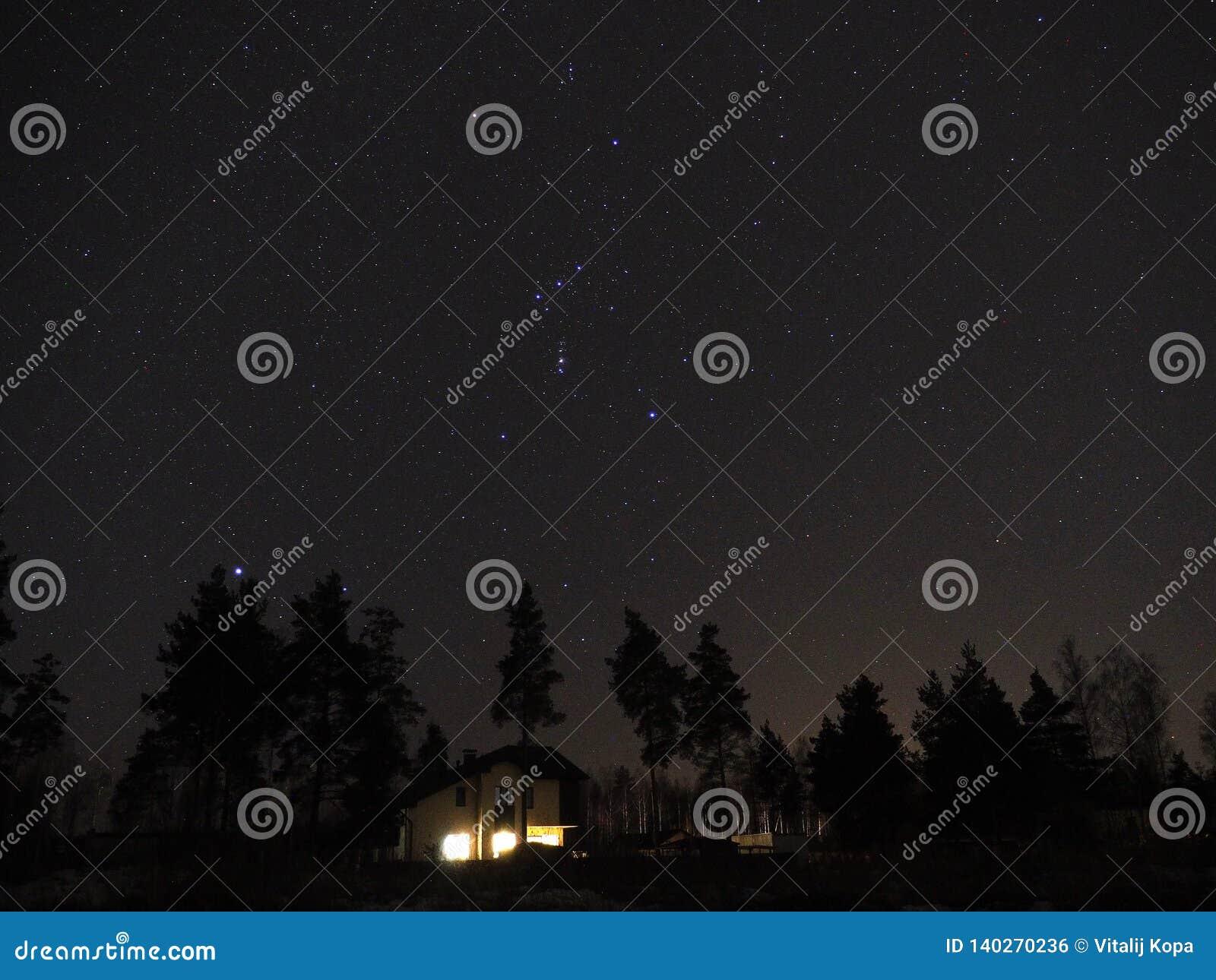 Constelação de Orion e estrela de Sirius no céu noturno
