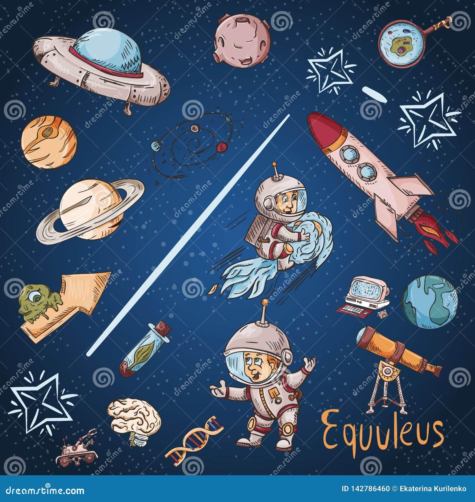 Constelação do espaço com as ilustrações de cor de name_18_and em um tema científico e fantástico