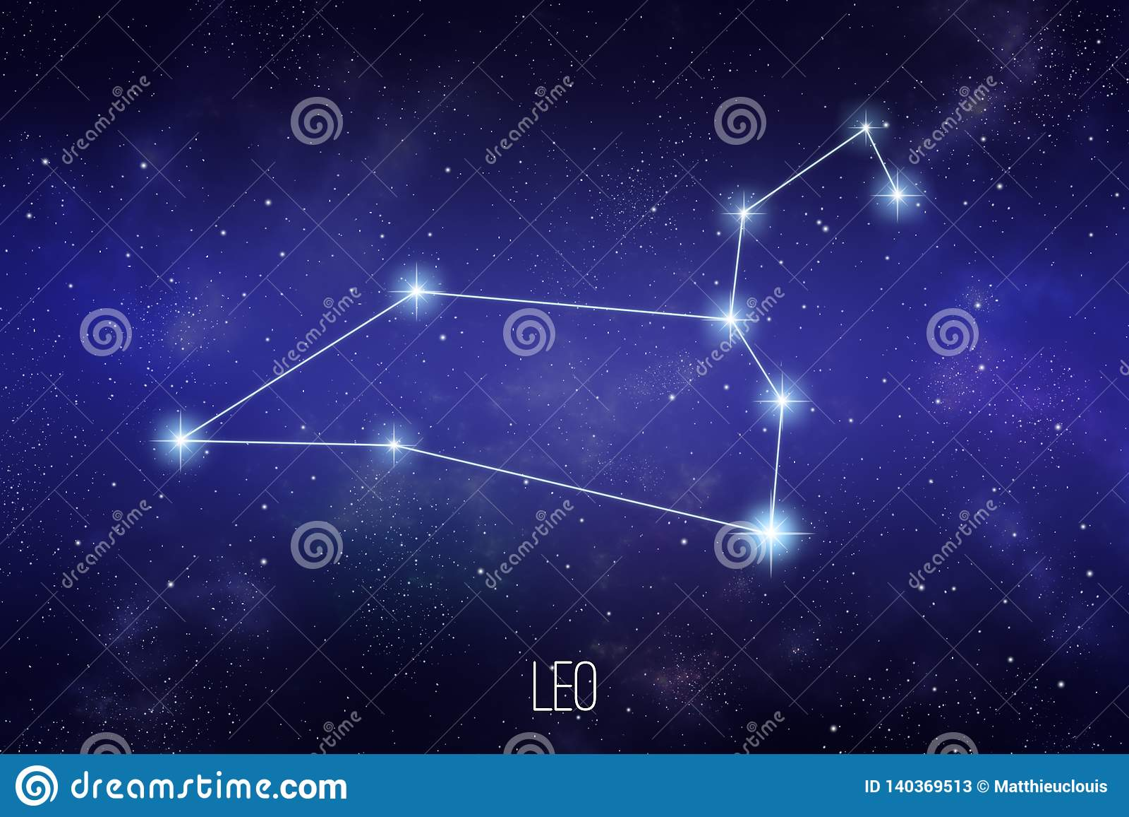 Constelação do zodíaco do Leão Ilustração da astronomia ou da astrologia