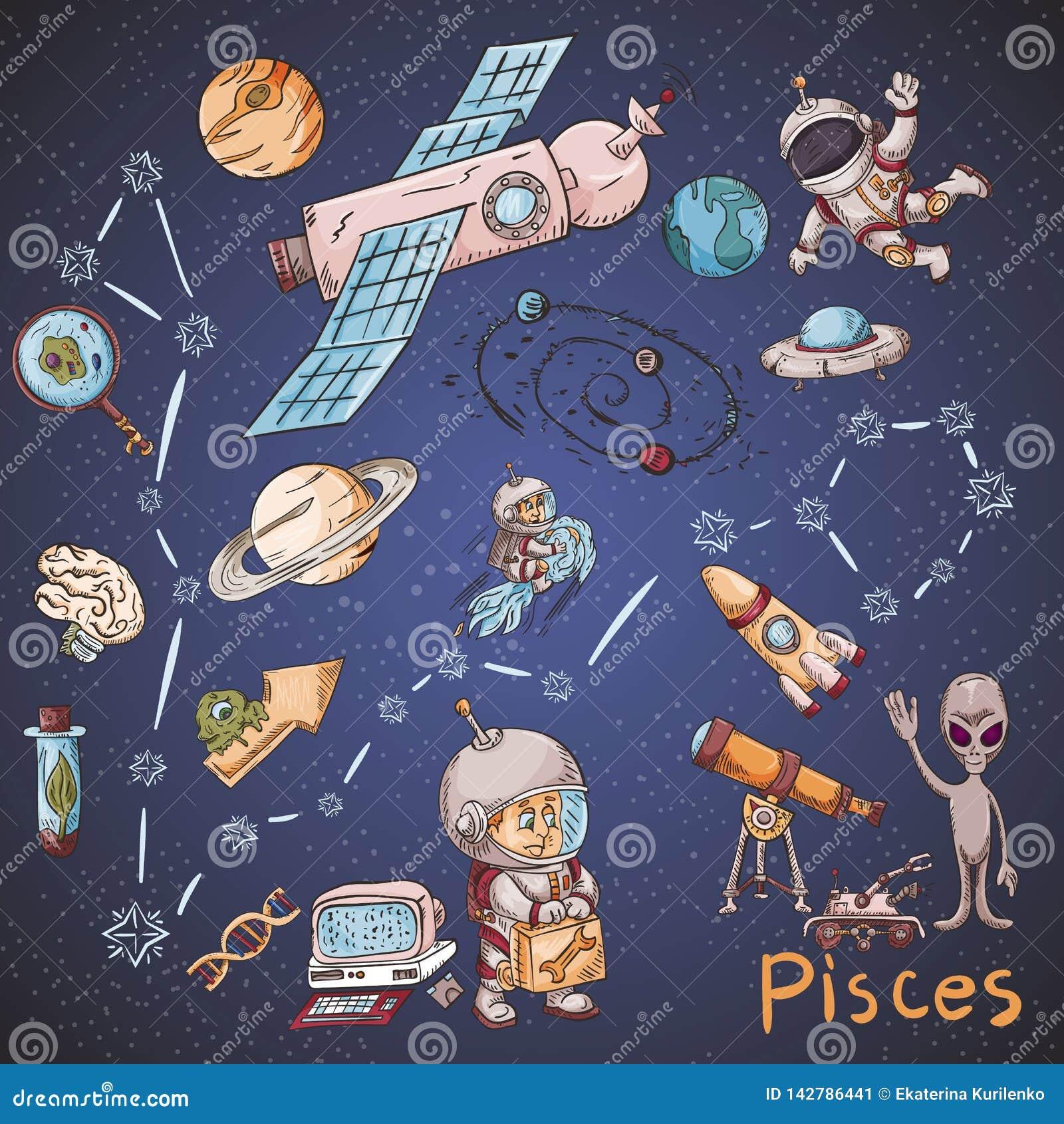 Constelación del espacio con los ejemplos de color de name_30_and en un tema científico y fantástico