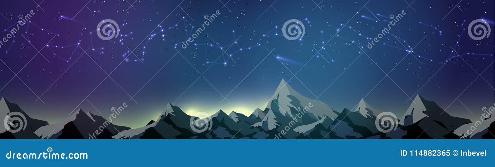 Constelaciones de la estrella sobre las montañas en el panorama del cielo nocturno - V