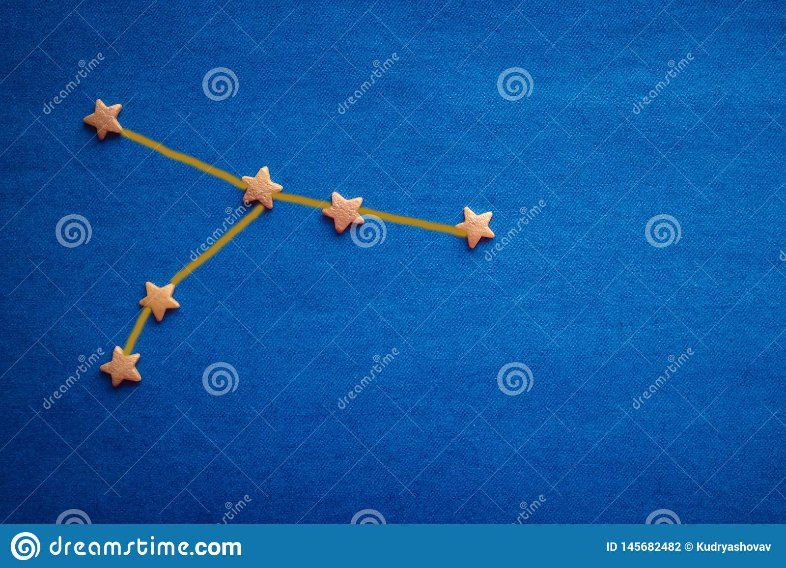 Constellation Of Cancer On A Blue Background Stock Photo
